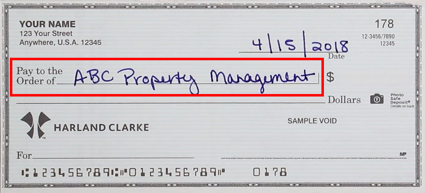 How to write the 'pay to the order of' line on a check