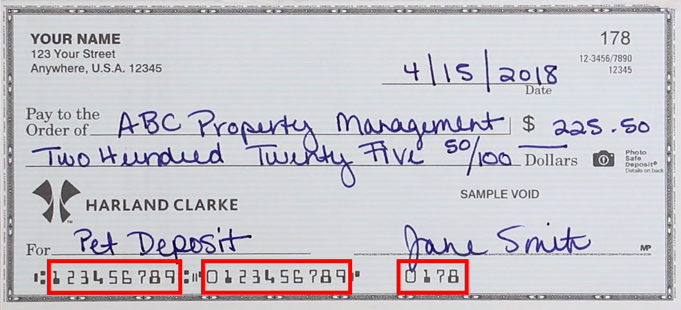 The special ink characters on a check